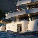 Luxury Yacht Antalis distessed in Aegiali Bay